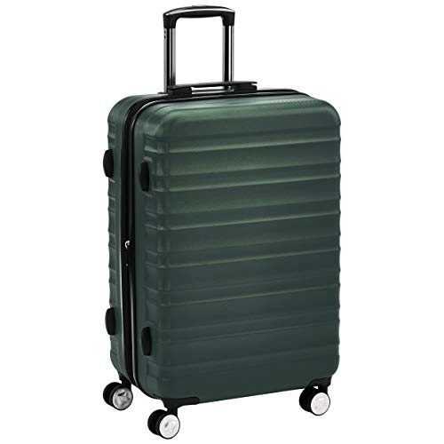 AmazonBasics Premium Hardside Spinner Suitcase Luggage with Wheels - 24-Inch, Green