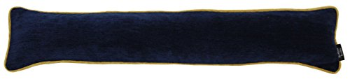 McAlister Textiles Alston Chenille | Schlichter zweifarbiger Zugluftstopper mit Füllung in Marineblau mit Ockergelb | Deko Windstopper für Fenster, Türen