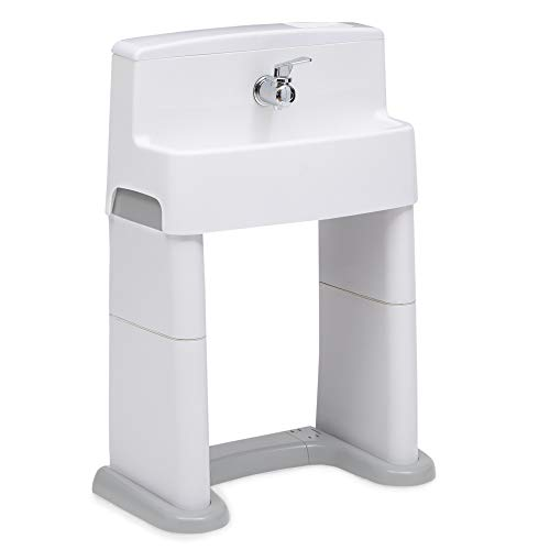 Delta Children PerfectSize 3-in-1 Convertible Sink, Step Stool and Bath Toy for Toddlers/Kids - Perfect for Potty Training, White/Grey