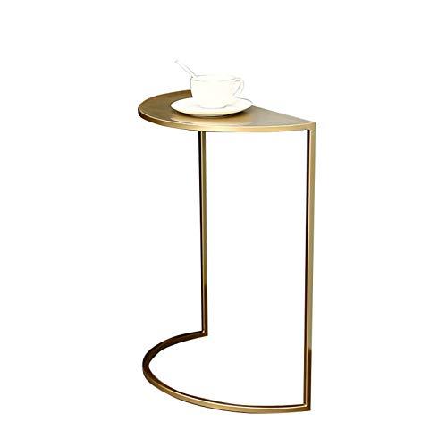 Home.table Goldener Schmiedeeiserner Konsolentisch, Halbrundes Sofa Beistelltisch Wohnzimmer Lässiger Couchtisch Nachtlicher Kleiner Metalltisch(Size:40 * 20 * 50CM)