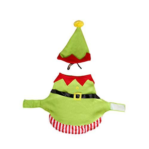 Amosfun Disfraz de Elfo del Perro Mascota Perro Gato Disfraz de Navidad para Cachorro Gatito Perros pequeños y Gatos