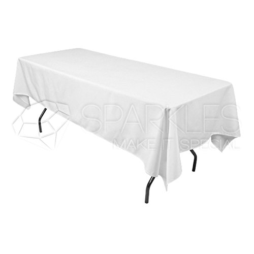 Sparkles Make It Special 10-pcs 60 x 102 Inch Rectangular Polyester Cloth Fabric Linen Tablecloth - Wedding Reception Restaurant Banquet Party - Machine Washable - White