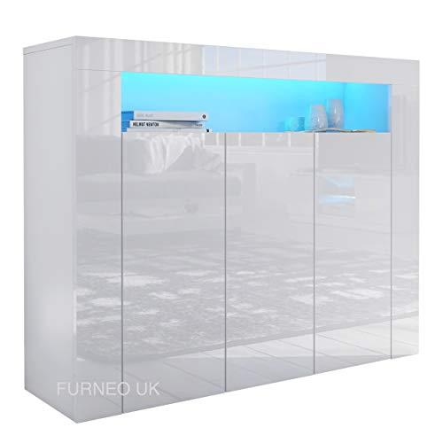 Furneo Matt & High Gloss White 3-door Sideboard Cabinet Cupboard Unit Clifton04 Blue LED Lights