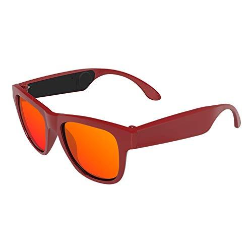 KTYXGKL Gafas Bluetooth, Gafas De Sol Inteligentes Inalámbricas, Lentes De Luz Anti-Azul, Gafas De Oreja Abiertas De Audio De Llamada Gratuita, Lentes De Gafas Polarizadas Inteligentes (Color : Red)