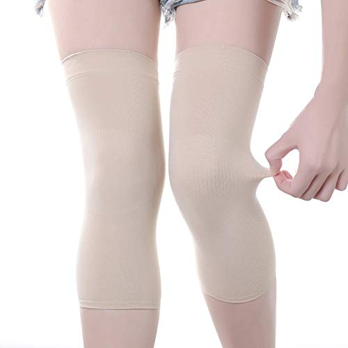 heaven2017 Dance Knee Pads Elastic Crashproof Fitness Knee Brace 2 Pieces for Women/Men Beige Silicone Pad