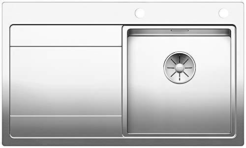 BLANCO DIVON II 45 S-IF, Küchenspüle für normalen und flächenbündigen Einbau, Einbauspüle, Becken rechts, mit InFino-Ablaufsystem und Ablauffernbedienung, Edelstahl Seidenglanz; 521658