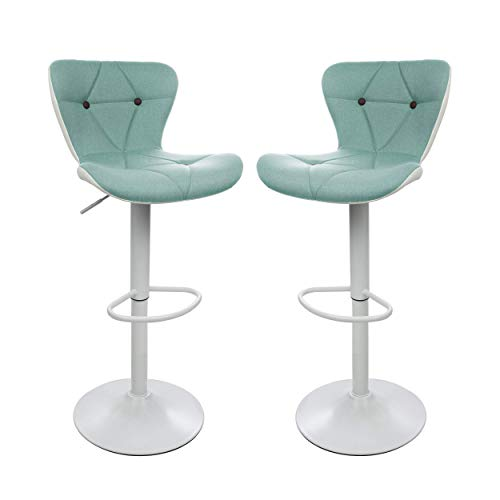 Counter Height Swivel Bar Stools, Barstools Bar Height, Stool Chair, Modern Upholstered with Diamond Stitched Pattern, Green and White, Set of 2, by Halter