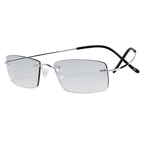 LianSan Designer Titanium Rimless Bifocal Mens Reading Glasses Women Readers Glasses 8015 (+1.00, bifocal silver)