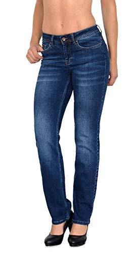ESRA Damen Jeans Hose Damen Jeanshose gerader Schnitt Straight Fit bis Übergröße G100