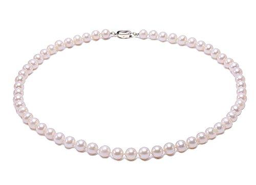 JYX Perlenkette weiß AAA-grade 7.5mm Classic Weiß Rund Süßwasser Perle Perlenkette kurz weiß