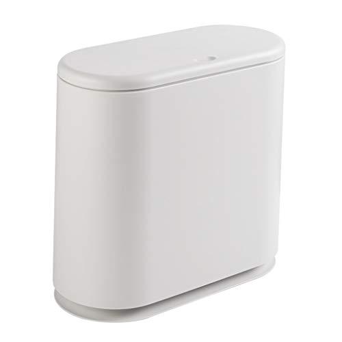 Basura y reciclaje La basura cubierta con tapa Papelera - Double Barrel contenedores de basura papelera for baño, dormitorio, cocina y oficina, de plástico de 10 litros cubo de basura Cubos de recicla