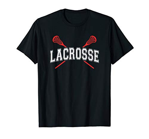 Lacrosse Shirt Red Crossed Sticks t-shirt for youth or adult