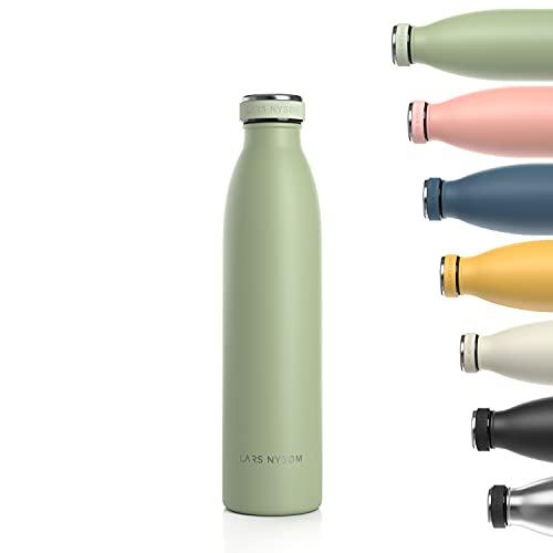 LARS NYSØM Trinkflasche Edelstahl 750ml   BPA-freie Isolierflasche 0.75 Liter   Auslaufsichere Wasserflasche für Sport, Fahrrad, Hund, Baby, Kinder