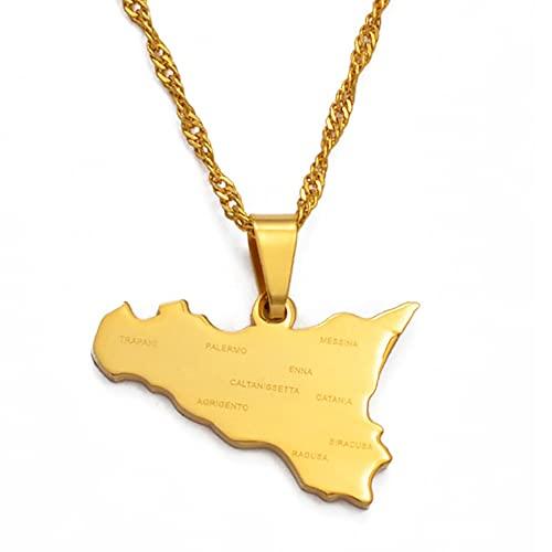 Kkoqmw Mapa de Sicilia de Italia con Collares con Colgante de Nombre de la Ciudad, Color Plateado/Color Dorado Regalos de joyería de Sicilia Italiana