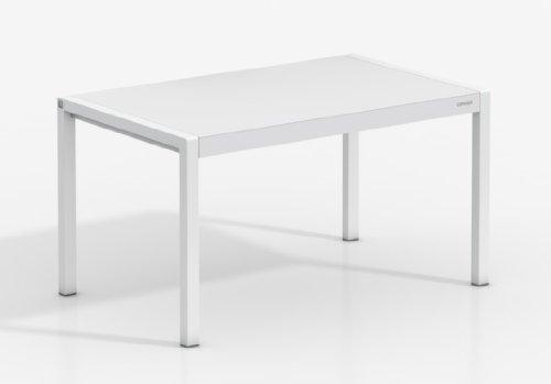 Mesa Extensible Concept - Encimera Porcelanico Artic/Patas Blanco, 120X80 cms