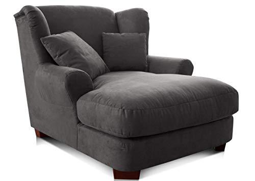 CAVADORE XXL-Sessel Oasis / Großer Polstersessel im modernen Design / Inkl. 2 schöne Zierkissen / 120 x 99 x 145 / Lederoptik in dunkelgrau