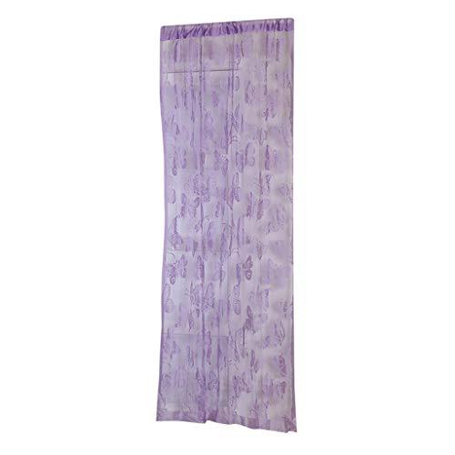 Sharplace Schmetterling Vorhang Fadenvorhang Jacquard Tür Fenster Scheibe Raumteiler Quaste 200cm x 100 cm - Lila
