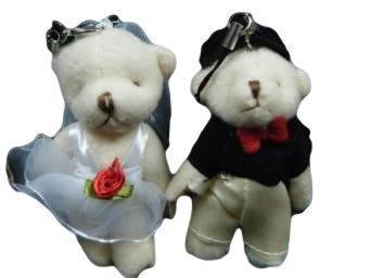 fat-catz-copy-catz Set de 2 Medium jeunes mariés positionnable, Joint Souvenirs de mariage décoration de gâteaux ours doux Bears
