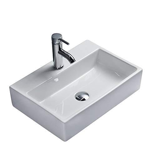 Waschbecken Design Aufsatzwaschbecken Handwaschbecken Eckig 500 * 350 * 120 mm Hochglanz, keine Wandmontage (Leo) von Art-of-Baan®