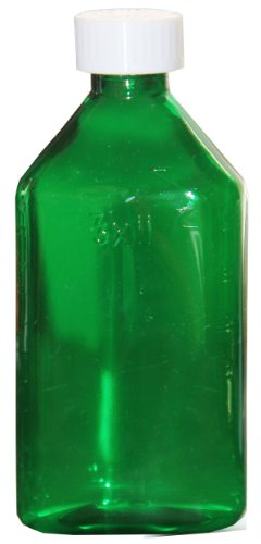 Oval Pharmacy Bottle for Liquid Medicine – Green Medicine Bottle - Child Resistant Cap – 2 oz – Pack of 100 - Prescription Pharmacy Bottle, Pharmacy Container, Prescription Plastic Container by Sponix