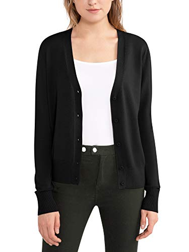 Woolen Bloom Womens Cardigans V Neck Open Front Cardigan Sweater Lightweight Spring Cardigan Ribbed Casual Outfit Black