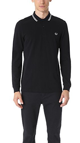 Fred Perry Herren Long Sleeve Twin Tipped Shirt Poloshirt, Schwarz/Porc/Porce, XX-Large