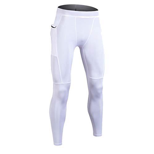 FRAUIT Leggings Uomo Termico Leggins Sport Running Pantaloni Uomo Elegante Slim Fit Elastic Calzamaglia Ghette Pelli Termici Pantaloni Di Formazione Pro Per Tutta La Stagione Pantaloni Tasche Laterali
