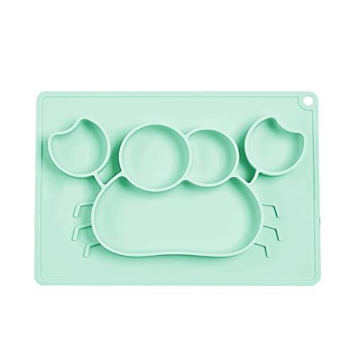 Surui Baby Teller Silikon Baby Tischset Rutschfest Kinderteller Babyteller Abwaschbar für Spülmaschine, Mikrowelle Krabbe Grün