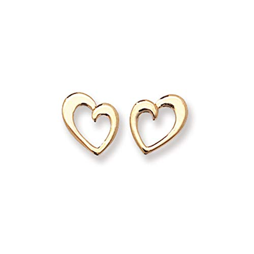 Aeon 9ct Gold Heart Stud Earrings - Hypoallergenic 9ct Gold for Ladies, 9ct Gold Earrings for Women and Girls, Comfort Elegant Style Durable Quality - 9mm * 8mm
