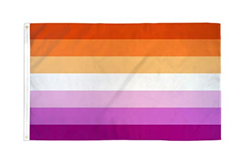 Lesbian Sunset Pride 3x5 Foot Flag - Bold Vibrant Colors, UV Resistant, Golden Brass Grommets, Durable 100 Denier Polyester, Mighty-Locked Stitching - Perfect for Indoor or Outdoor Flying!