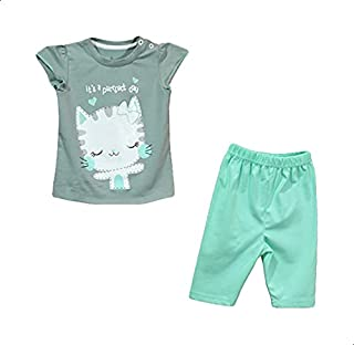 Jockey Front Stitched Cat Shape Short Sleeves Crew Neck T-shirt with Plain Shorts for Girls - Olive and Mint Green, 12-18 ...