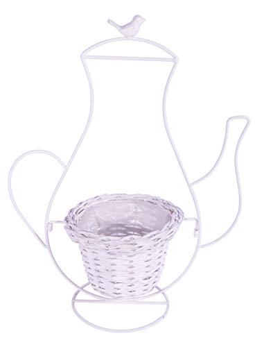 Deko Chiccie Pot de Fleurs Vintage avec Panier en Osier Blanc 57 cm
