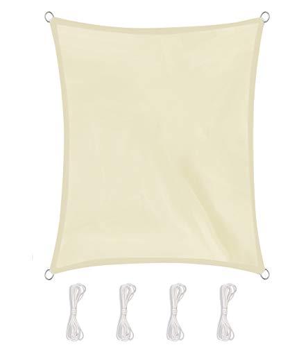 AWNIC Tenda Parasole per Esterni a Vela Impermeabile e Resistente Anti-ultravioletti Veranda per Balcone da Giardino Tenda da Sole Rettangolare Beige 3 x 3m