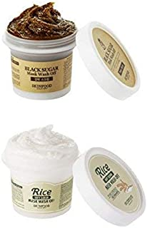 [Skin Food] Black Sugar Mask Wash Off 3.53Oz/100g + Rice Mask 3.53Oz/100g