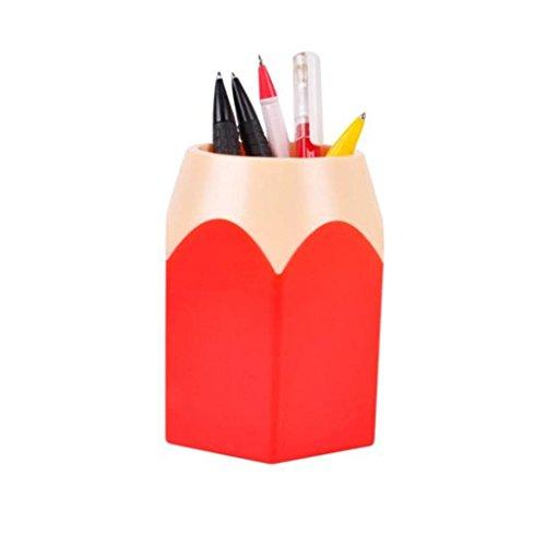 Clode, creativo penna trucco pennello matita vaso cancelleria contenitore da scrivania Height:10.5cm,Width:7.5cm Red