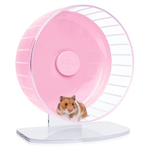 Niteangel Super-Silent Hamster Exercise Wheels: - Quiet Spinner Hamster Running Wheels with Adjustable Stand for Hamsters Gerbils Mice Or Other Small Animals...