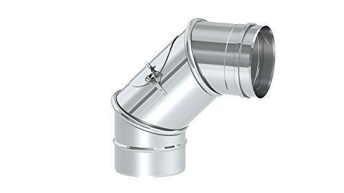 Schornstein - Reinigungswinkel drehbar 0-90°, Innendurchmesser 120mm; 0,6mm Wandstärke, Edelstahl