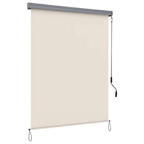 COSTWAY Senkrechtmarkise Sichtschutzrollo Fensterrollo, Sichtschutz Sonnenschutz Windschutz, mit Aluminiumrahmen (1,6x2,5m/beige)
