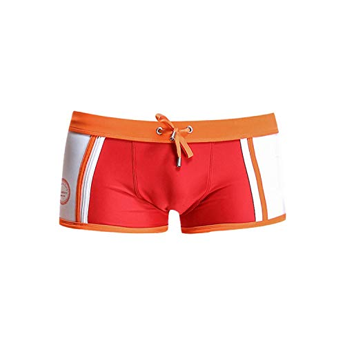 aterproof Swimwear Men Strap Swimsuit Swimming Trunks Bathing Shorts-Red-S