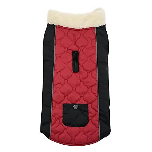 ChYoung Abrigo de Perro Abrigo de Lana cálida Collar Jacket Impermeable Reversible Ropa de Perro Impermeable Traje de Nieve a Prueba de Viento Ropa Reflectante para Mascotas al Aire Libre