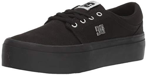 DC Women's Trase Platform TX Skate Shoe, Black/Silver, 5 M US