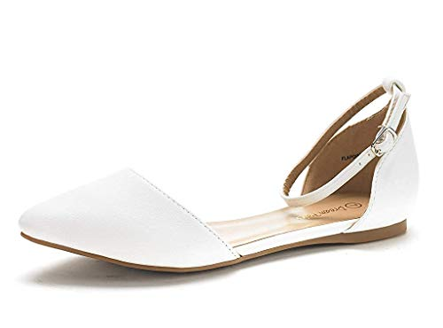 DREAM PAIRS Women's Flapointed-New White Pu D'Orsay Ballet Flats Shoes - 11 M US