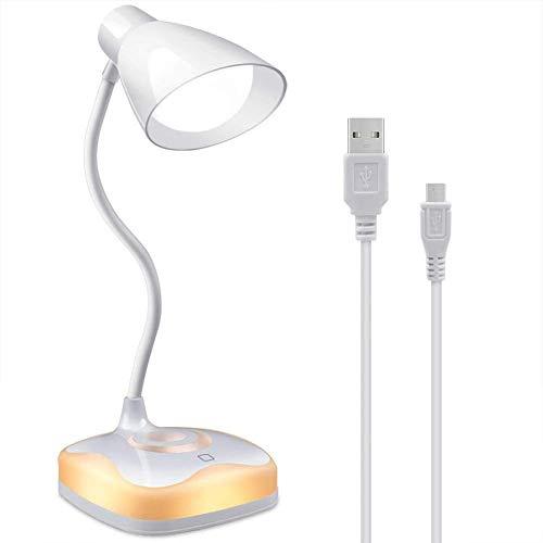 JKMQA Lámpara de Escritorio,luz de Lectura LED Recargable por USB,Cuello Flexible,protección Ocular,3 Niveles de Brillo con Control táctil,lámpara de Mesa con luz Ambiental para Escribir/Leer