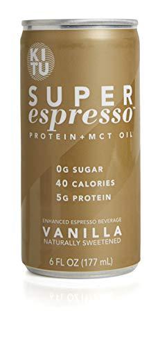 Kitu Super Espresso, SugarFree Keto Coffee Cans (0g Sugar, 5g Protein, 40 Calories) [Vanilla] 6 Fl Oz, 24 Pack   Iced Coffee, Canned Coffee - From the Super Coffee Family
