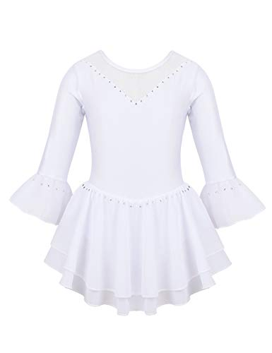 Freebily Kids Big Girls Mesh V-Neck Figure Ice Skating Dresses Ballet Dance wear Skate Sports Performance Costumes White 10