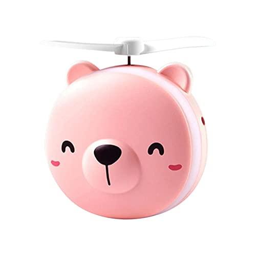 thorityau Kosmetikspiegelfächer, Piggy/Bear Kosmetikspiegel Mit Ventilator - Tragbarer USB-Mini-Schönheitsspiegel - Reisespiegel Mit LED-Beleuchtung - Mini-Handlüfter