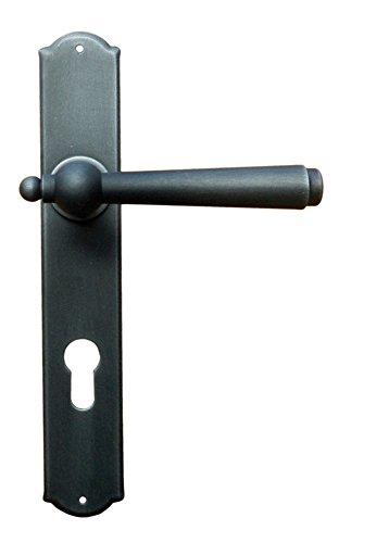 Gusseisen Drückergarnitur für Zimmertüren Türbeschlag Antik auf Langschild - Modell München | PZ 88 mm - Profilzylinder | Schmiedeeisen schwarz verzinkt | Türdrücker mit Hochhaltefeder