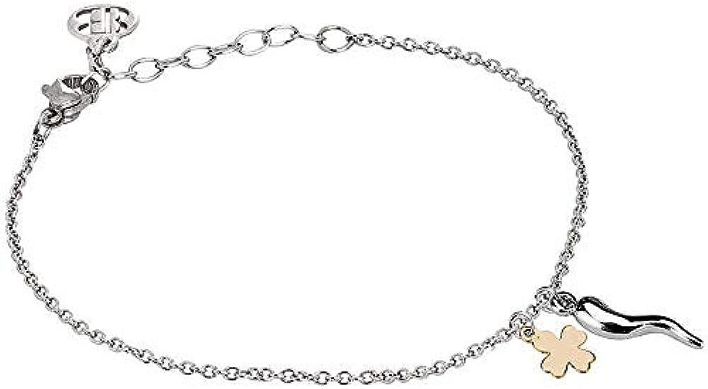 Boccadamo, bracciale per donna, in acciaio rodiato con cornetto portafortuna quadrifoglio placcato oro Pf/Br65