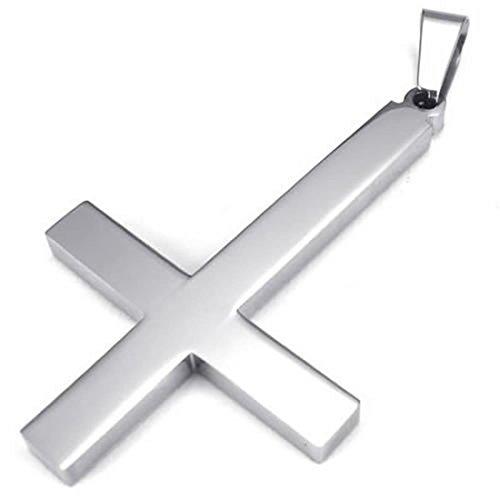 SODIAL(R) Collar Pendiente de Cruz Invertida Pendiente de Cruz Invertida de Acero Inoxidable de joyeria con 55 mm Cadena, Collar para Hombres Mujeres, Plata