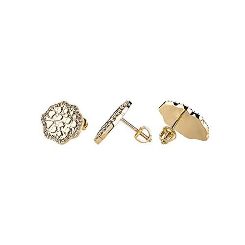 HMMJ Pendientes Unisex del Perno Prisionero, joyería de Las Perforaciones Brillantes en Relieve circonita del Loto del Estilo de Hip Hop (Color : Gold)